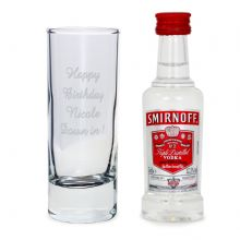 Shot Glass and Miniature Vodka Set
